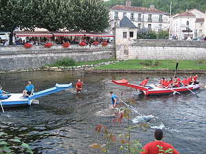 Water jousting on the river at Brantome