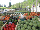 The weekly market at Brantome.